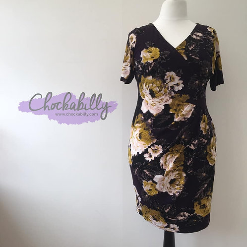 Yellow and White Floral Wiggle Dress