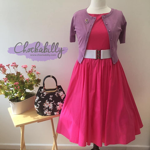 Slash Neck Hot Pink Swing Dress