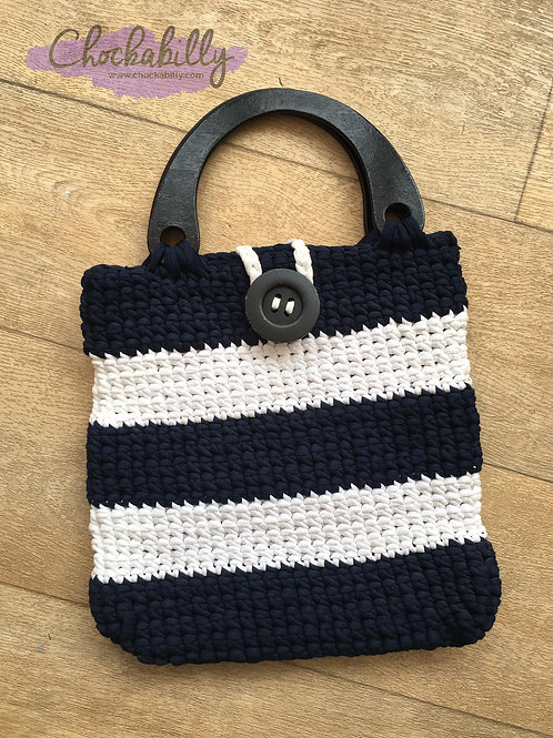 Navy and White Woven Bag