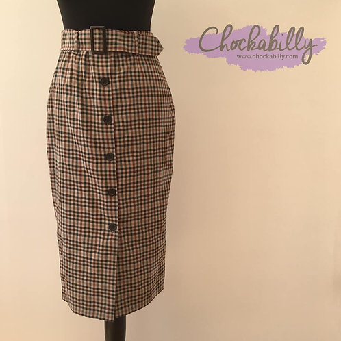 Brown and Green Check Pencil Skirt