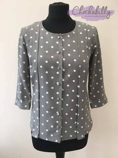 Taupe Polka Dot 40's Style Blouse
