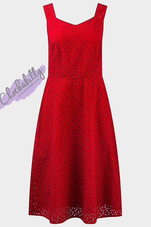 Red Broderie Anglaise Dress