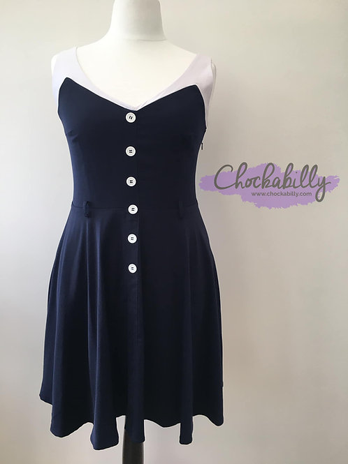 Navy and White Swing Dress