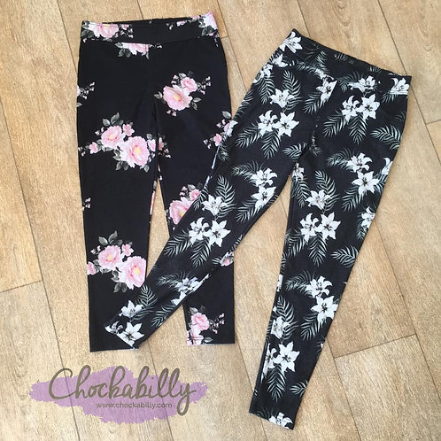 Two Pairs of Floral Cropped Jeggings