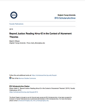 Beyond Justice: Reading Alma 42 in the Context of Atonement Theories