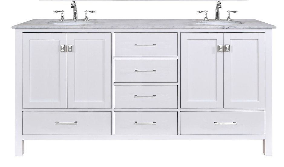 "72"" Malibu Pure White Double Sink Vanity"