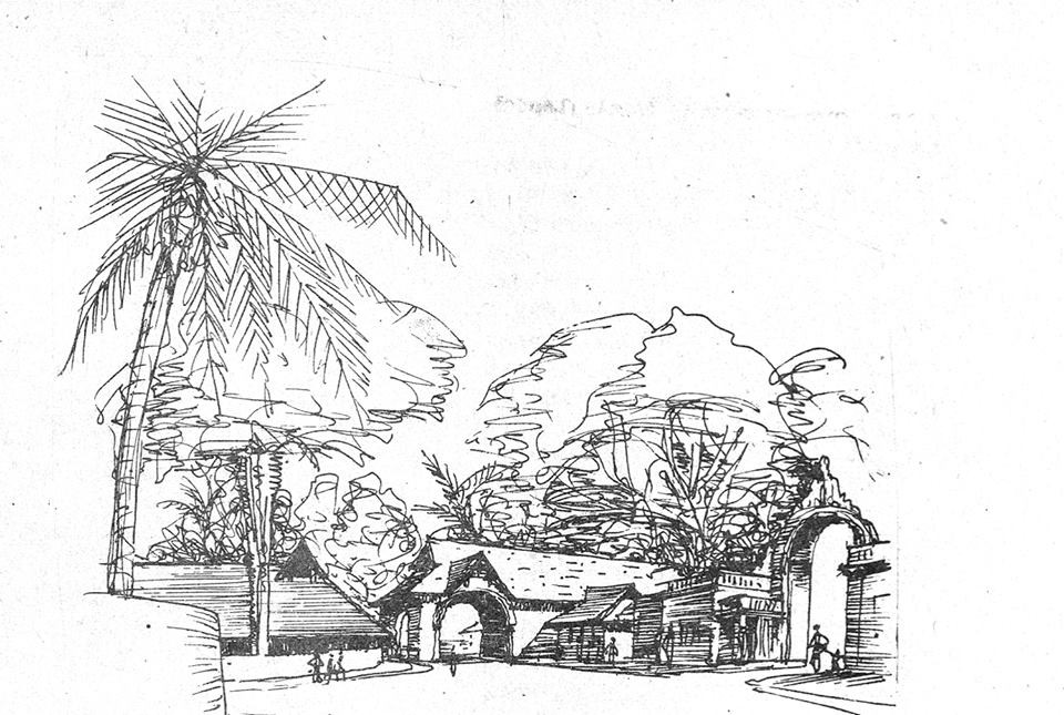 Sketch by Laurie Baker of the Elephant Gate, Trivandrum.