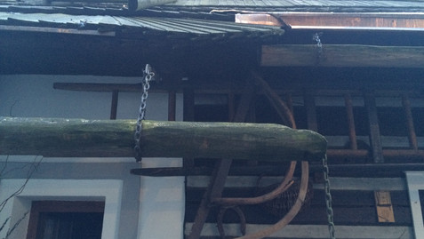 PRAGUE - TIMBER GUTTERS AND IRON CHAIN