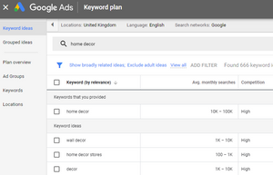 screenshot of keyword planner to help write blog posts and do keyword research by Zo Connected