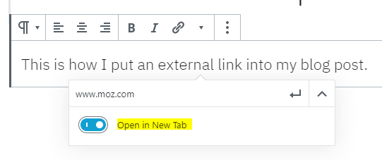 screenshot of external link formatting on Wordpress to show opening in new tab for SEO