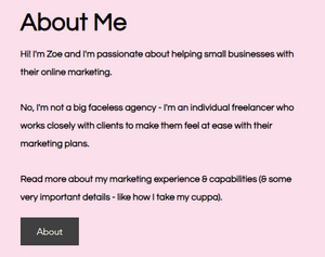 Screenshot of Zo Connected About Me wording to demonstrate brand tone voice & style on website content