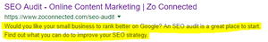 screenshot of meta description example for seo small business help and advice