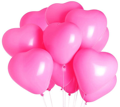 Шар в форме сердца розовый с гелием