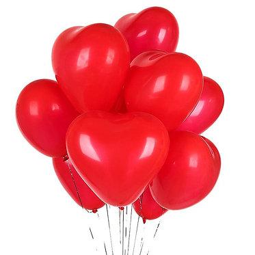 Шар в форме сердца красный с гелием
