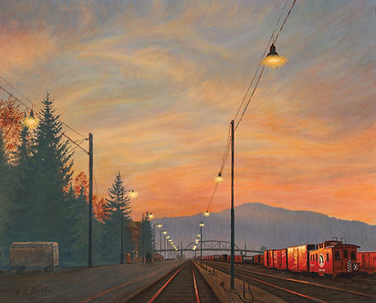 Sunset For The Great Northern by James Bakke Montana Artist - 36x24 Oil Painting