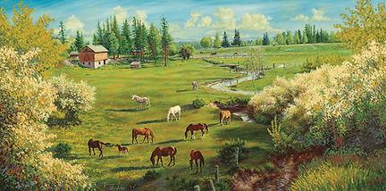 Seceret Pasture by James Bakke Montana Artist - 48x24 Oil