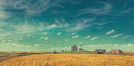Bakke Family Homestead by James Bakke Montana Artist - 36x28 Oil