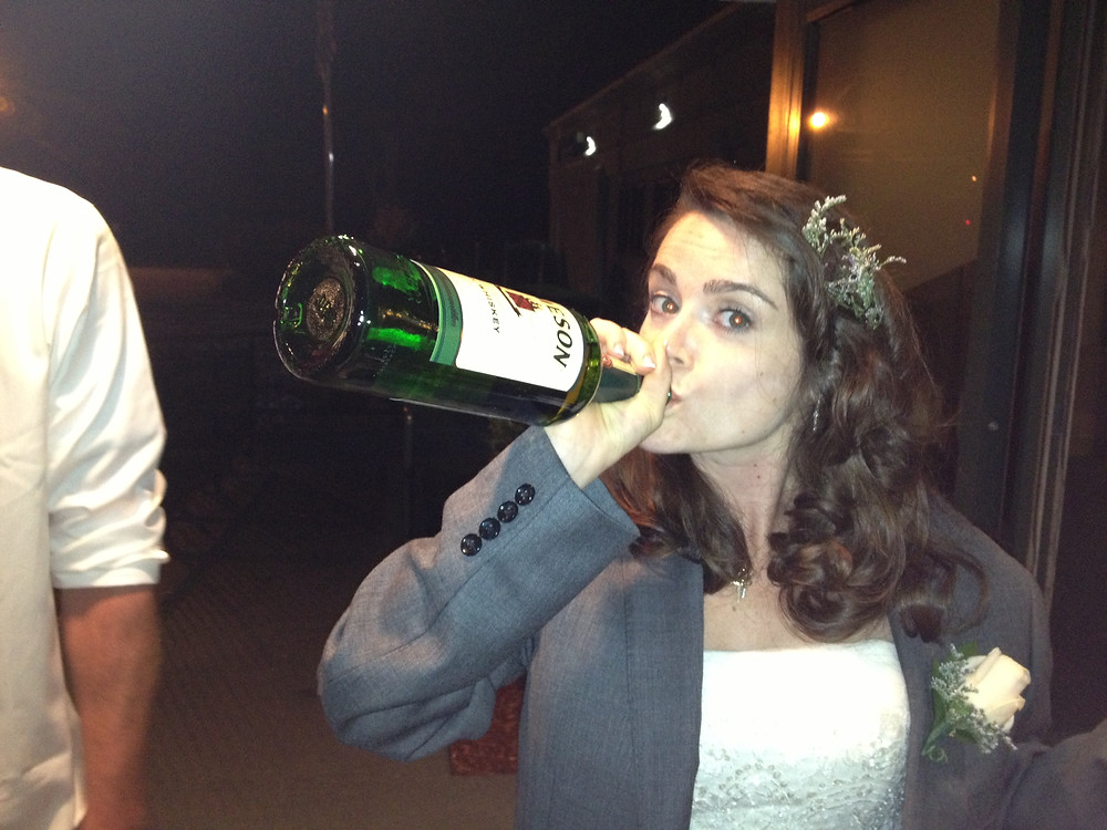 I'm 50% Irish and my last name is Kelly... post-wedding shots from the bottle