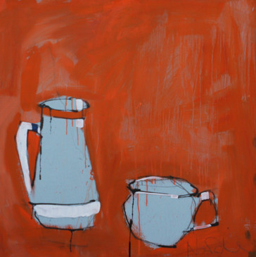 Orange pots. emulsion and acylic on board