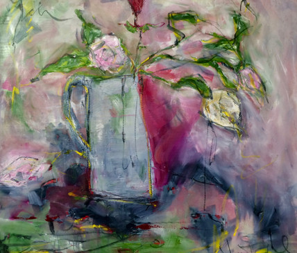 Roses in jug. oil on canvas