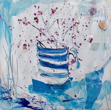 Thrift in Cornish mug. Acrylic and crayon on board. 2018