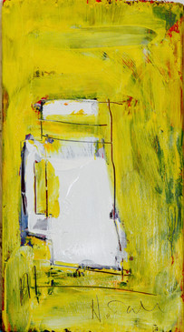 jug on yellow. Oil on found board. 2017