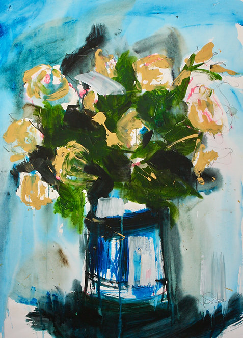 Roses on blue