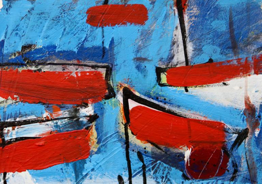 Battered Boats. Acrylic and ink on paper.