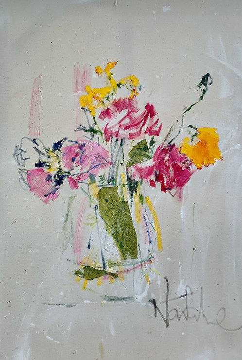 Peonies and yellow Geum