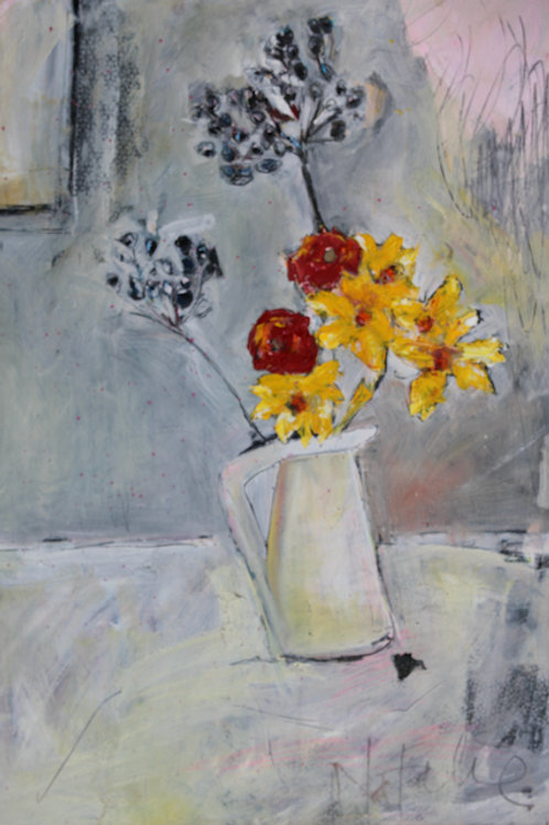 Daffodills, berries and Ranunculus in the white jug