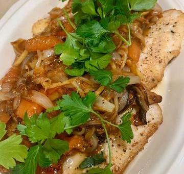 Pan fry fish fillet w/ stir fry veggies