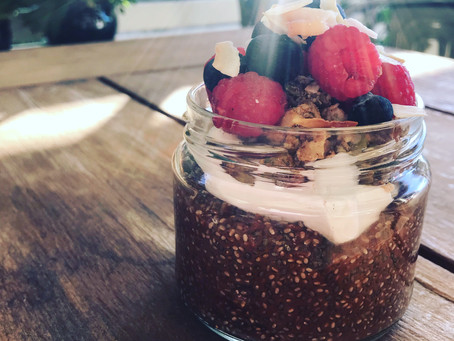 Choc Chia pods with yoghurt and berries
