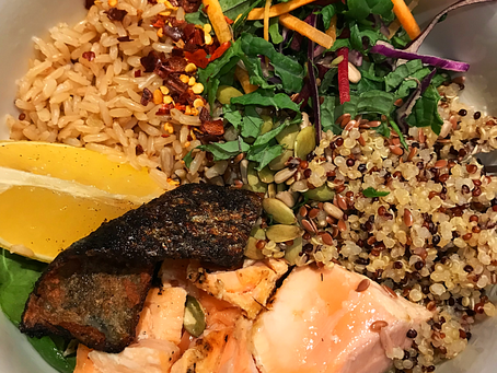 Easy Salmon Nourish Bowl with Lemony Quinoa and Brown Rice