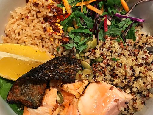 Easy Salmon NourishBowl with Lemony Quinoa and Brown Rice