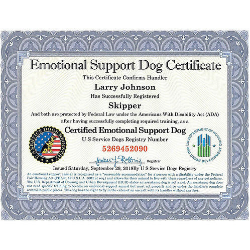 Certified Emotional Support Dog/Service Dog Certificate *REPRINTS**