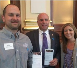 Brent & Melissa with Senator Sam McCann at the Illinois Stewardship Alliance Lobby Day, April 2018