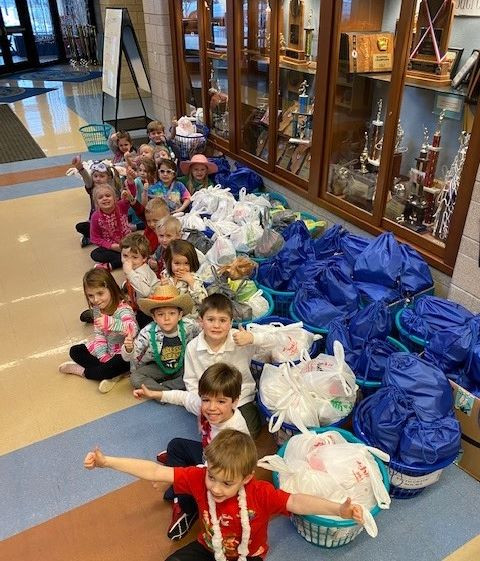 PreK Students with Blessing Bags they helped make for the homeless in Springfield!