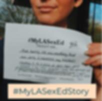 Student storyteller holding their #MyLASexEd story