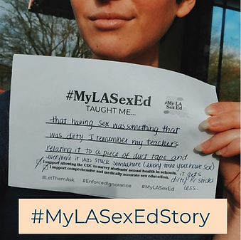 Student storyteller holding their #MyLASexEd story