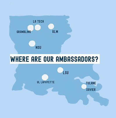 Map of where the campus ambassadors are located in Louisiana