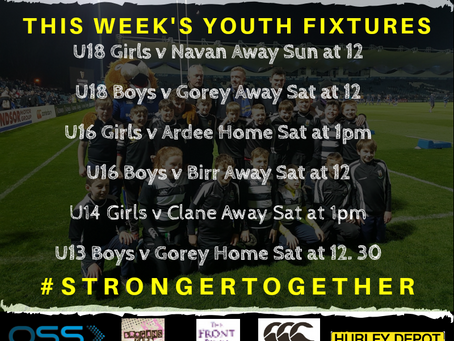Youths Fixtures Weekend 25-01