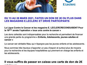 Partenariat entre la Ligue contre le cancer et les magasins E.Leclerc du département