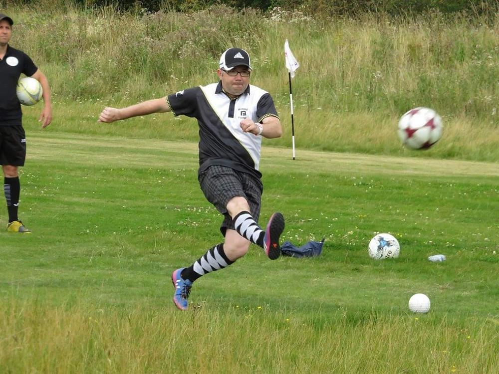 Declan Reid in action at Bridgend Footgolf Club, West Lothian