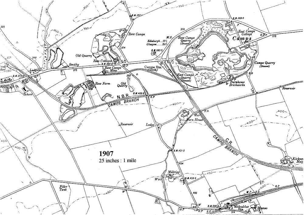 East Calder and the Camps 1907 (Map courtesy of West Lothian Local History Library)