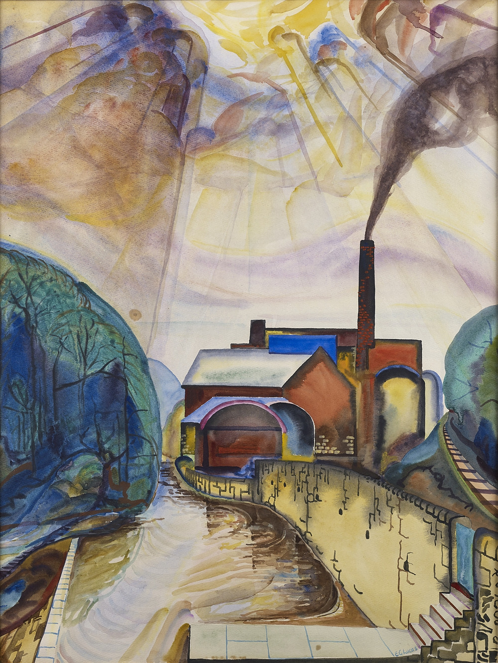 Woodhall Mill, Juniper Green, 1944 by Edwin G Lucas