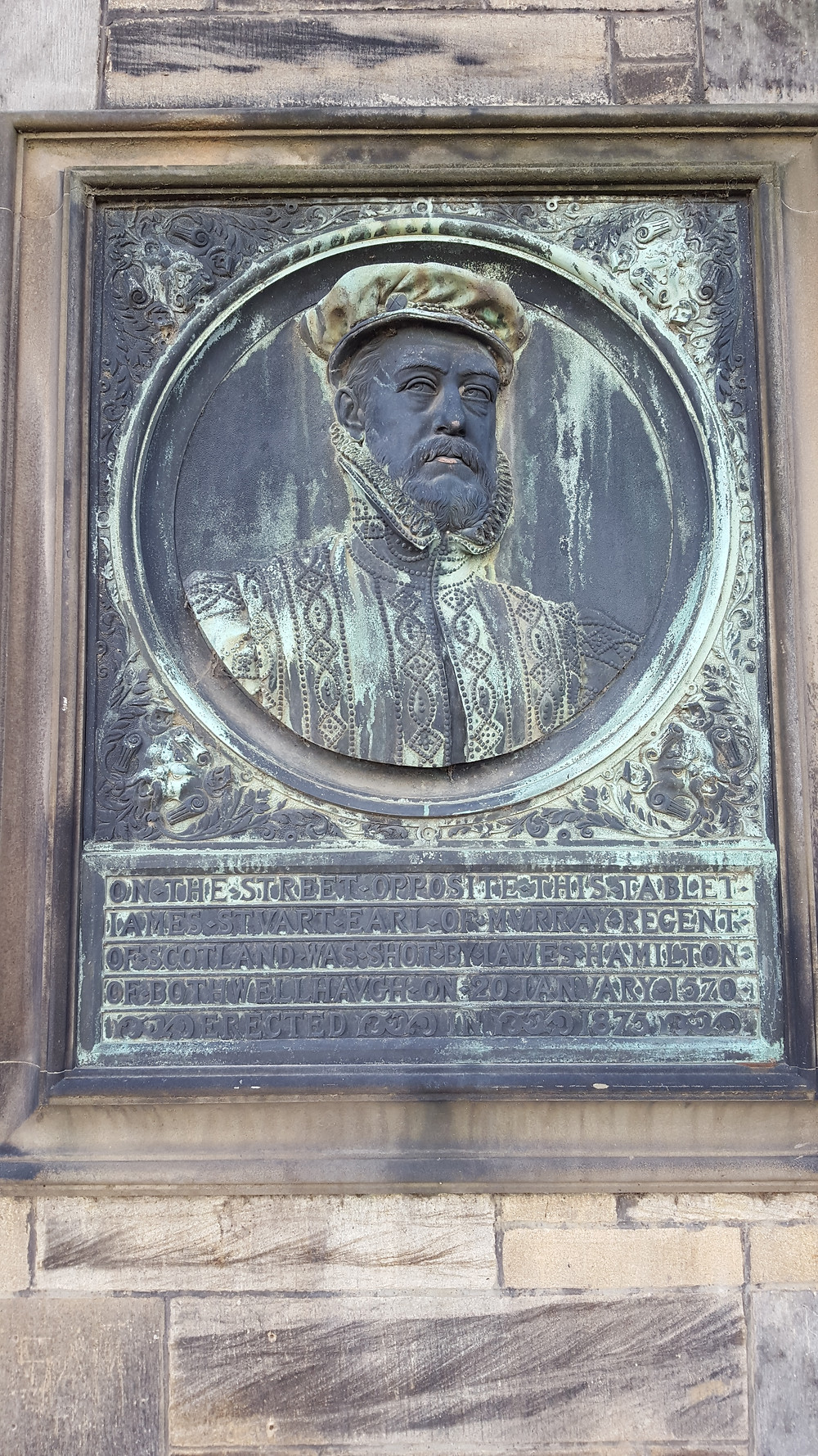The Regent's commemorative plaque at the Court Residence, Linlithgow