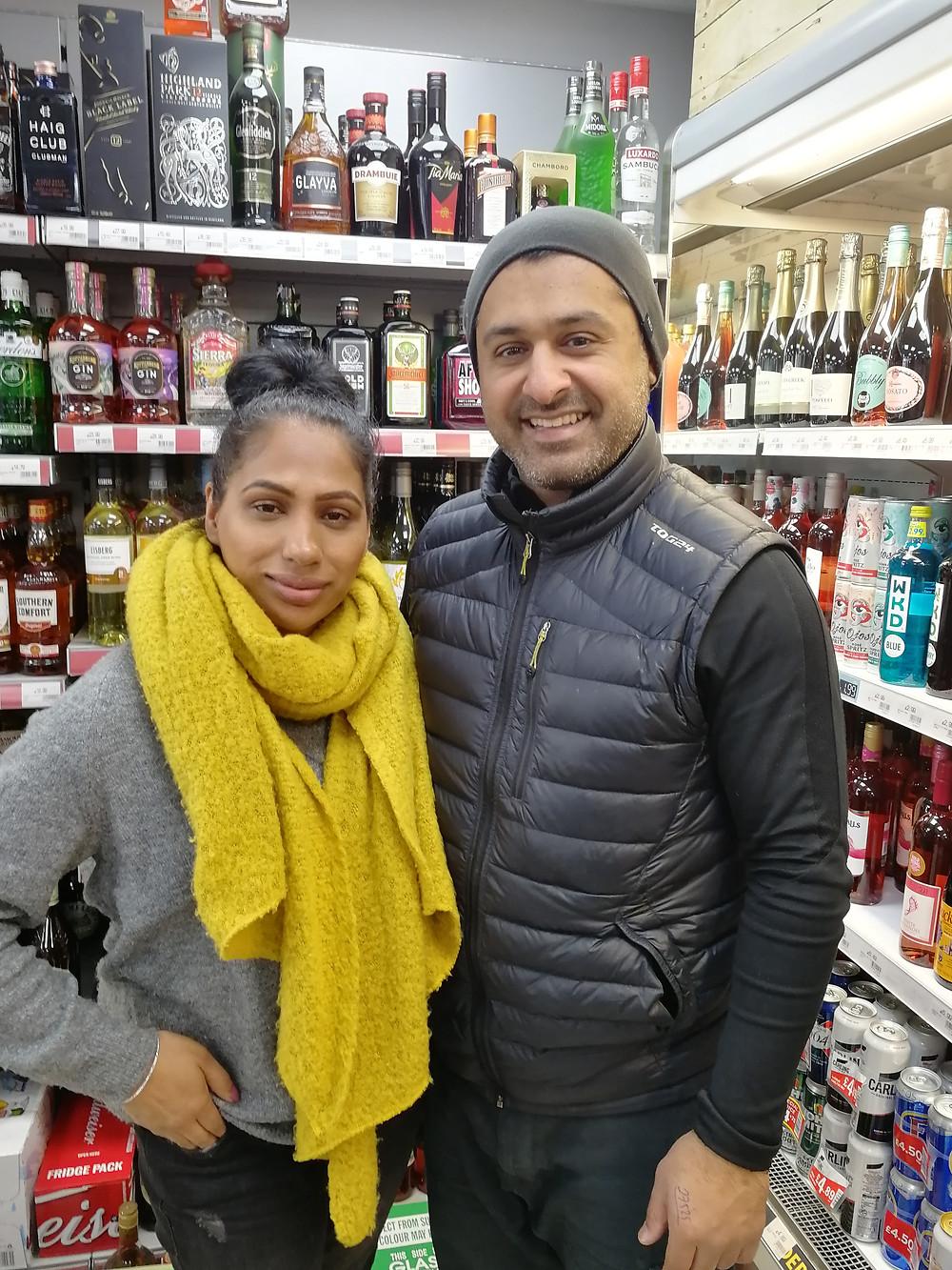 Assfa and Waz in their shop in Broxburn