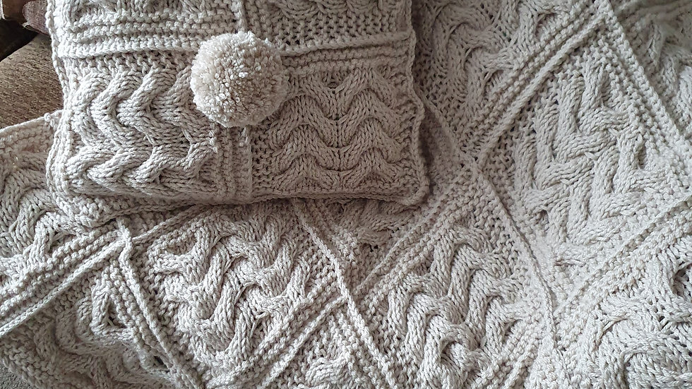 Handmade Aran Cable Throw