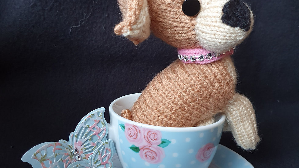 Hand knit Chihuahua and teacup set.