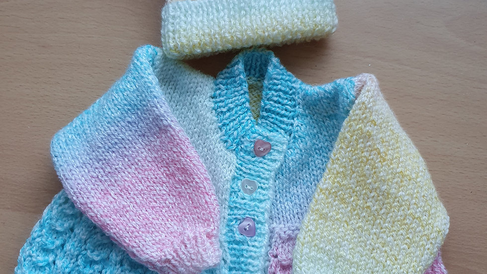 Newborn Hand-knitted Cardigan And Hat